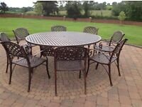 Garden table and chairs (ALUMINIUM many styles 6, 8 seater hawthornes