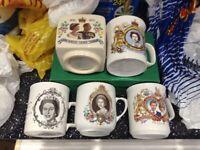 Queen Elizabeth Silver Jubilee RARE money box and 3 mugs.