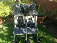 McLaren twin traveller stroller with full weather kit