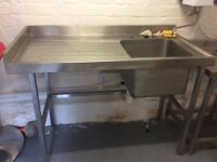 Industrial stainless steel sink unit and hand wash sink