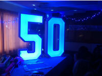 HUGE LIGHT UP LED NUMBERS FOR HIRE FOR YOUR SPECIAL OCCASION!