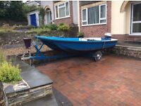13ft Dell Quay Dory Boat. 8hp engine, trailer with new jockey wheel and winch.