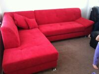 Red corner sofa/sofabed/storage