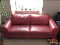 Very Cofortable Coral Leather Sofa
