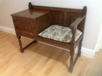 Old Charm Solid Oak Telephone/Hall Unit