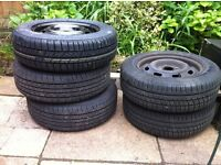 5 X Very Good 185/65R14 wheels and Tyres 1 Brand new