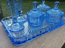 Blue glass dresser set Tuncurry Great Lakes Area Preview