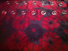 NEW UNUSED beautiful heavy weight 90 x 90 fully lined luxury heavy eyelet black and red curtains