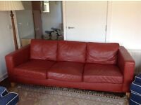 Red leather sofa (3 person sofa)