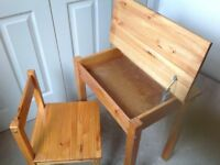 Child's wooden desk and chair with hinged lid £10