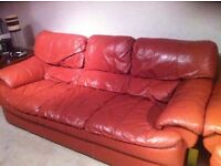 3 seater red Italian leather sofa
