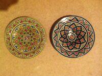 "2 x colourful handmade Morroccan earthenware plates 10.5"" diameter"