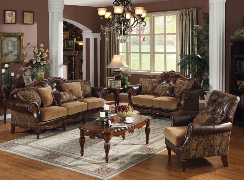 3pc Sofa Set Formal Luxurious Tufted Bonded Leather Sofa Loveseat Chair Chenille