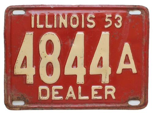 Illinois 1953 AUTO DEALER License Plate, 4844A