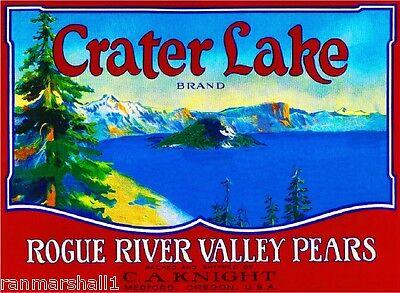 Medford Oregon Crater Lake Pear Fruit Crate Box Label Art Print