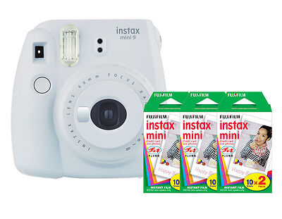 (Fuji Instax Mini 9 (Smokey White) Camera with 3 Mini Film Twin Packs Bundle Kit)