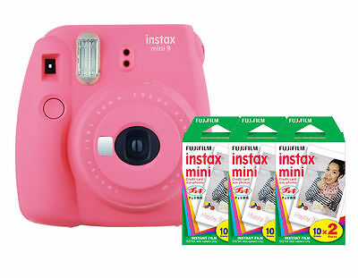 (Fuji Instax Mini 9 (Flamingo Pink) Camera with 3 Mini Film Twin Packs Bundle Kit)