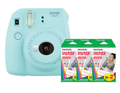 (Fuji Instax Mini 9 (Ice Blue) Camera with 3 Mini Film Twin Packs Bundle Kit)