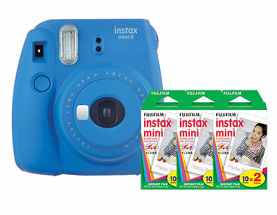 (Fuji Instax Mini 9 (Cobalt Blue) Camera with 3 Mini Film Twin Packs Bundle Kit)