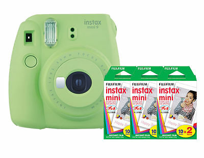 (Fuji Instax Mini 9 (Lime Green) Camera with 3 Mini Film Twin Packs Bundle Kit)
