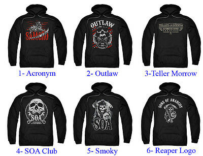 Authentic Sons Of Anarchy Adult Men Pull Over Hoodie Sweater New S 3Xl