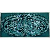 """(2) Antique Blue Floral Art Nouveau Majolica Tile Matching Set-  6"""" x 12 """" total"""