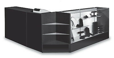 "Sales Combo 70"" Display Case 48"" Flat Counter 24"" Cash Well Black Knockdown New"