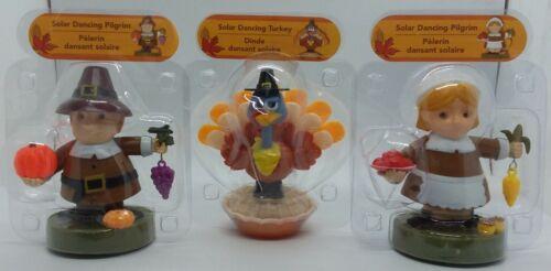 Solar Powered Dancing Toy Bobblehead-Thanksgiving Pilgrim Couple & Turkey