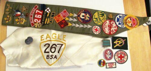 VTG Type E Boy Scout Sash 23 Merit Badges Sterling Pin Eagle Neckerchief 1950