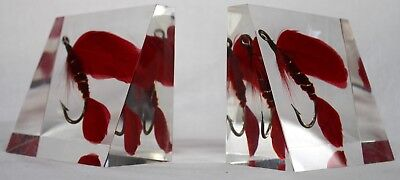 Vintage Bookend Acrylic Lucite RED FLY FISHING LURE HOOKS Fisherman Mid Century