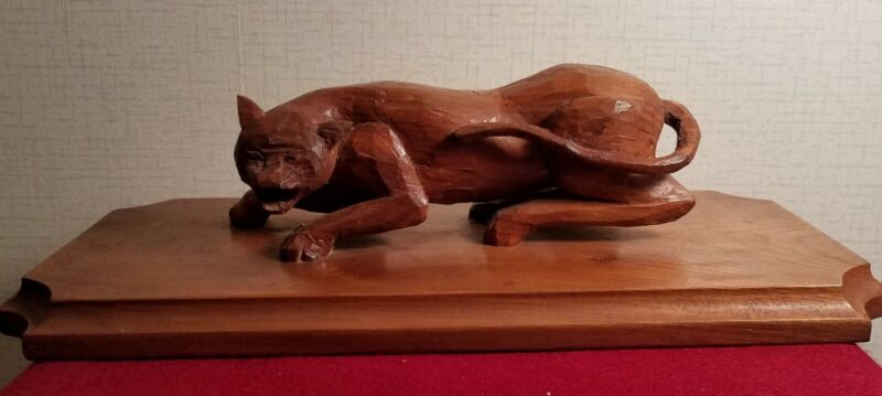 Carved wooden catamount/cougar/mountain lion/puma/panther by Harry Ross 1967