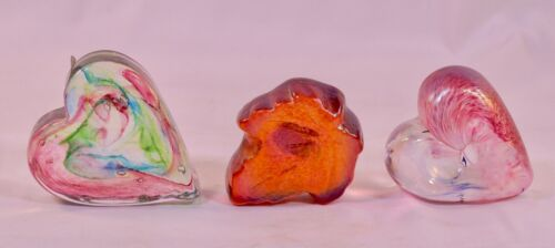 3 Robert Held Art Glass Paperweights ETCH signed & labeled 2 Hearts,1 Maple Leaf