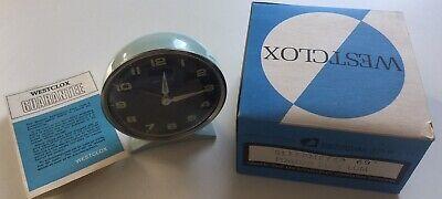 Vintage Westclox Alarm Clock, Metal, Blue, Mechanical, Scotland, New Old Stock