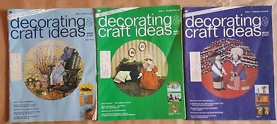 - 3 DECORATING & CRAFT IDEAS Magazines~1974 1975 Crafts Sewing Dolls Tole Painting