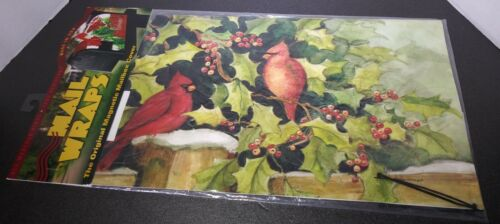 New Mail Wraps Magnetic Mailbox Cover Holiday Decor Vinyl Red Cardinals & Holly