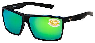 Costa Del Mar Rincon Sunglasses RIN-11-OGMP Shiny Black | Green Mirror 580P (Del Sunglasses)