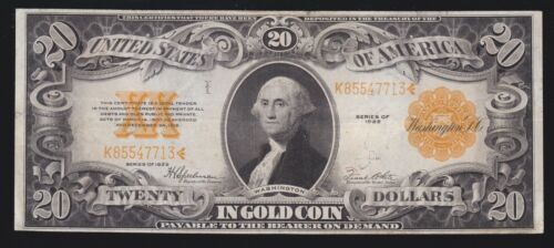 US 1922 $20 Gold Certificate FR 1187 VF-XF (-713)