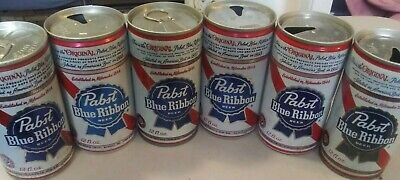 6 Vintage Pabst Blue Ribbon Empty Beer Cans Pull Tab - 12 Ounce - 2 unopened