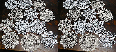 """lot of 24 Hand Crochet Doilies 7"""" White & Natural Vintage Wedding Tea Party NEW"""