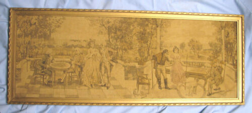 Old Tapestry in the Aubusson style signed Alonso-Perez - Playing pool and cards