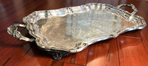 "Antique Vintage Silver Plated Serving Tray Platter Unknown Hallmark 24.5"" x 14"""