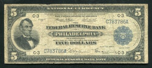 FR. 784 1918 $5 FIVE DOLLARS FRBN FEDERAL RESERVE BANK NOTE PHILADELPHIA, PA