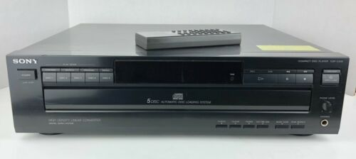 Sony CDP-C225 Carousel 5 Disc CD Changer / Player, Black + OEM Remote - Stereo