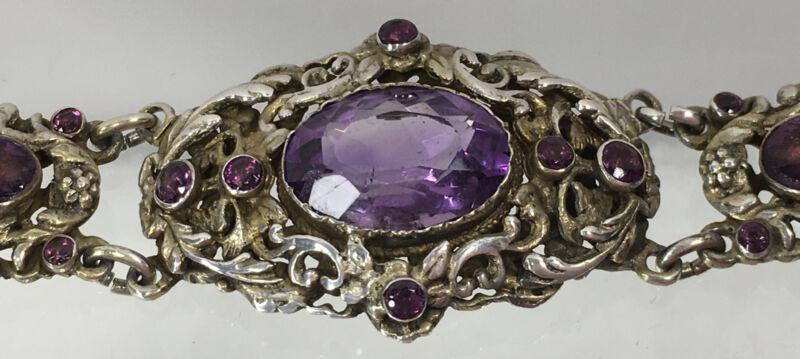 "Vintage Austro Hungarian Faceted Amethyst Glass & Rhinestone Bracelet Signed 7"""