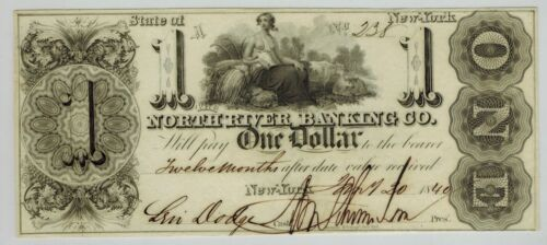 1840 New York City THE NORTH RIVER BANKING CO $1 Obsolete Currency