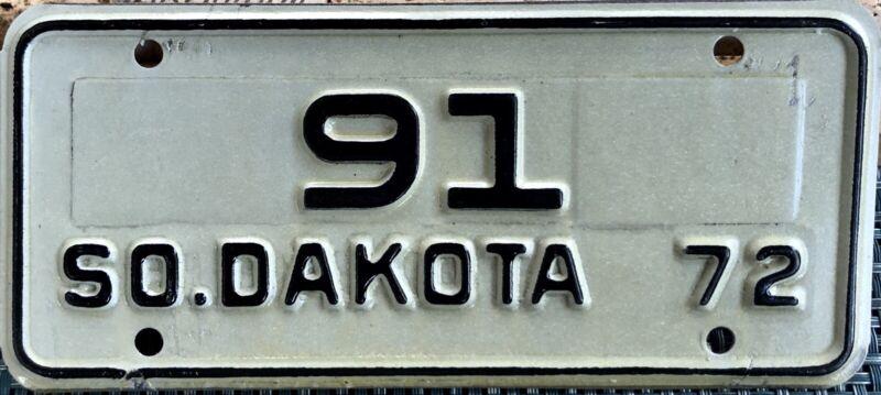 1972 South Dakota Motorcycle License Plate - Low # 91