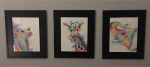 3 Vibrant Colour, water paintings from local artist