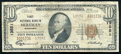1929  10 Tyii First National Bank In Meridian  Ms National Currency Ch   13551