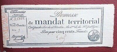 France - Promesse de Mandat Territorial - Très Joli  500 Francs Avec  Série n° 9