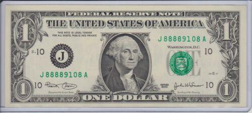 $1 SERIES 2003 KANSAS CITY J/A BLOCK (FW) UNCIRCULATED P-2 LUCKY 8888 9108